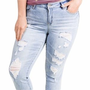 NEW Mid Rise Distressed Denim Jeans Size 18